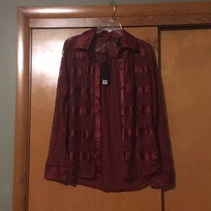 BKE Boutique maroon button down shirt
